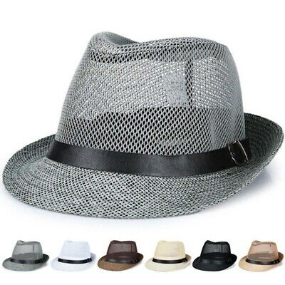 12d564a3 Men Women Mesh Fedora Wide Brim Straw Trilby Cap Panama Summer Beach Sun Hat  US