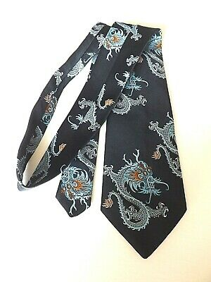 Vintage TOOTAL KIPPER Neck Tie 1970s 4.5 Inch Blade Black Blue Dragon  FREE P&P