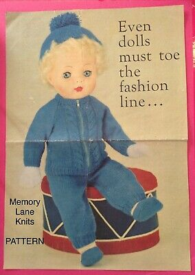 Doll Clothes Vintage Knitting PATTERN Shoes Mitts Undies Trousers Jacket Hat 85