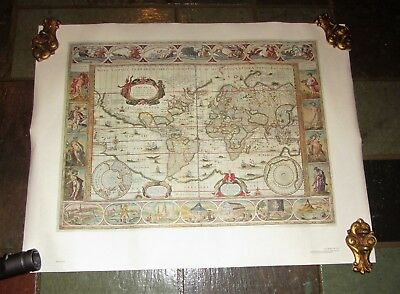 Map Of The World In 1635 By Willen Janszoon Blaeu; Vtg Repro Historic Urban Plan