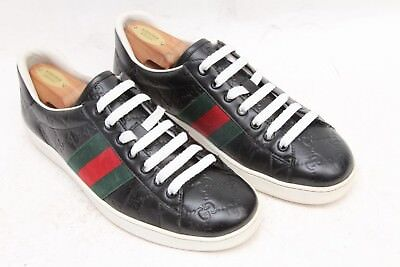 da1a0a6a762 GUCCI  Ace  Sneakers Black GG Leather Signature Web Green  Red Size US 8