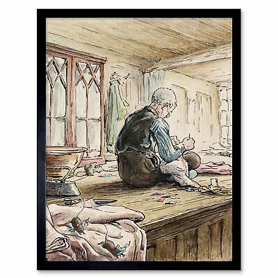 Helen Beatrix Potter The Tailor Of Gloucester At Work 12X16 Inch Framed Print
