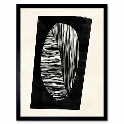 Minimalist Abstract Painting Black White 12X16 Inch Framed Art Print