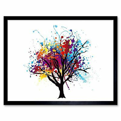 Painting Illustration Abstract Colourful Tree Splash 12X16 Inch Framed Art Print
