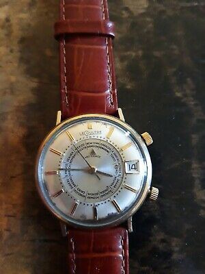 1950's Vintage Rare Lecoultre 10k gold WorldTime Memodate (Date) Alarm Watch