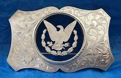 VTG Rare Beautiful Engraved STERLING SILVER American EAGLE Cut Out BELT BUCKLE