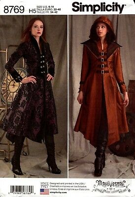 Simplicity Sewing Pattern 8769 Ladies Costume Coat Jacket Cosplay Size 6-14