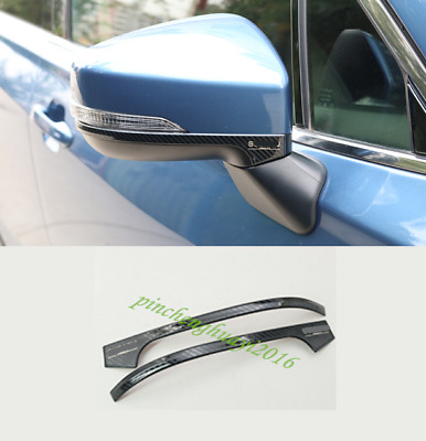 2PCS Carbon Fiber Rearview Mirror Cover Trim Strips For Subaru Forester 2019