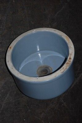 Antique Round Blue Glazed Lab Sink School Salvage Undermount or Vessel 1 of 3