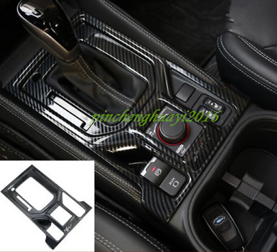 Carbon Fiber Style Gear Shift Box Panel Cover Trim For Subaru Forester 2019
