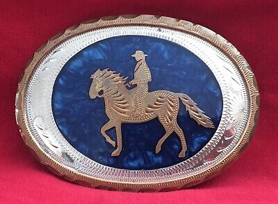 Vintage 100% Handcrafted Johnson Held American Horse & Rider Western Belt Buckle