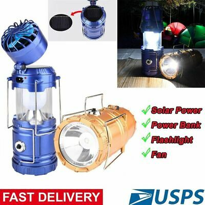 Camping Lantern Multi-function Rechargeable Led Solar Light Flashlight with Fan