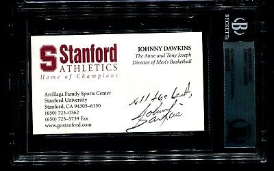 Signed Business Card, Johnny Dawkins, Head Basketball Coach Stanford, Ncaa