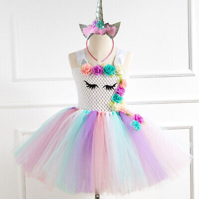 c7c34b5944148 2PCS Unicorn Girls Tutu Dress+Headband Princess Birthday Party Cosplay  Costume