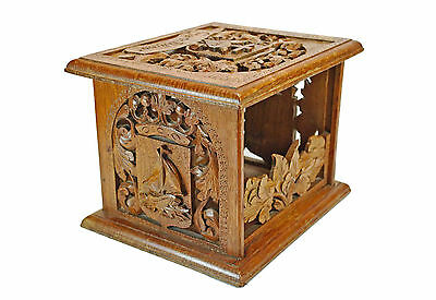 Antique Hand Carved Oak Foot Stove, Food Warmer or Rechaud, Dutch.