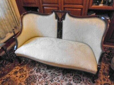 Lovely Antique English  Carved Mahogany Upholstered Couch Settee Sofa
