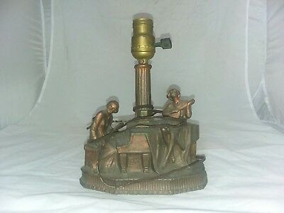 antquie Leviton METAL Brass? Copper? LAMP Lady Band piano