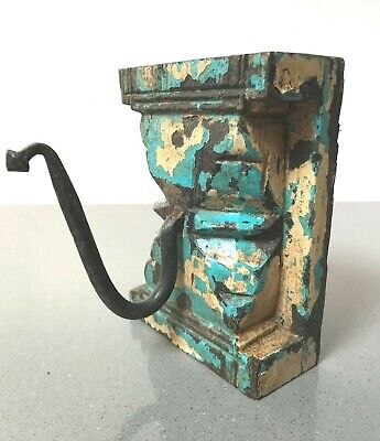 Antique/Vintage Indian Furniture. Large Single Coat Hook. Turquoise & Cappuccino