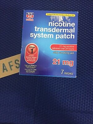 Rite Aid Nicotine Step 1 Transdermal Smoking Patches 21 mg 7 Patches Exp 1/20