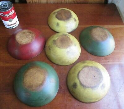 ANTIQUE RARE 1800's SET OF SIX (6) WOOD BOWLS Hand Made BUTTERNUT WOOD VA FARM