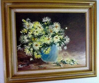 Mid Century Bouquet of Daisies Still Life Yellow Flowers Oil Painting Signed LAI