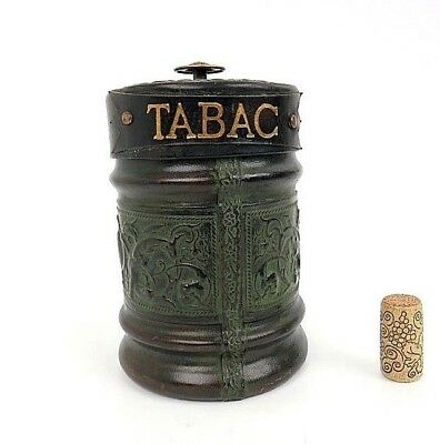 Tobacco Humidor Enesco Italy Embossed Leather Cover Griffins Green Glass Liner
