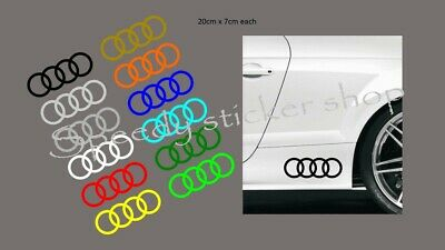 Audi rings logo decals pair of 2 stickers 20cm x 7cm audi a4 5 a6 tt s4 s5 s6 s7