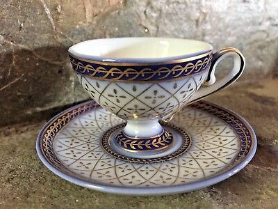 Vintage Limoges France Gold Cobalt Blue Demitasse Footed Pedestal Cup & Saucer