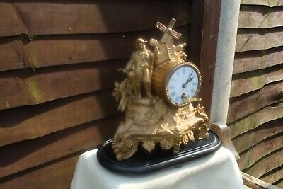 ACE c 1880 FRENCH SPELTER  MANTLE CLOCK ON WOODEN BASE GWO KEEPS GOOD TIME NICE.