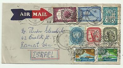 United Nations Old Airmail Cover Sent to Israel Great Franking 1964