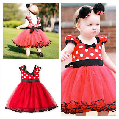 Minnie Mouse Mesh Girls Dress Summer Sundress Birthday Party Kids Clothing Wears