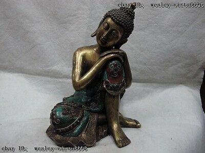 Tibet Pure Bronze Copper Gild inlay Ruby beryl Rest Meditation Sakyamuni Buddha