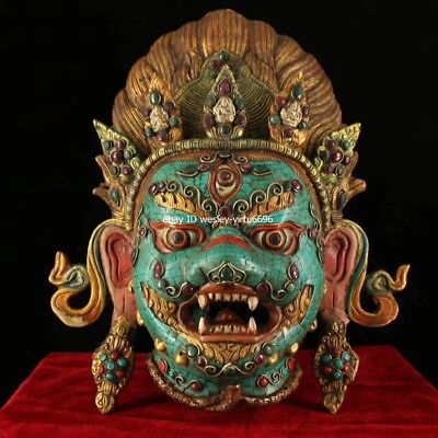 Tibet Temple Copper Inlaid Coral Turquoise Gem Setrap Chen Mahakala Buddha Mask