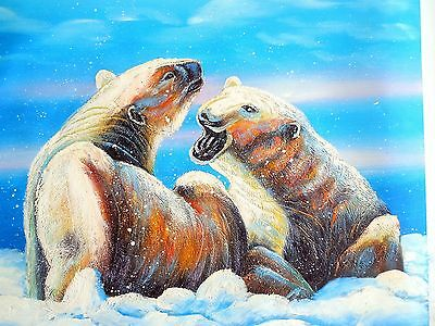 23x27 ORIGINAL OIL PAINTING PAIR OF POLAR BEARS ARTIC ICE CANVAS ARTIST COCO