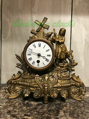Antique Clock - French Spelter Figural Clock - Mantel Clock