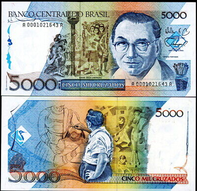 Brazil P-214 5000 Cruzados (1988) Artist Drawing World Paper Money Currency Unc!