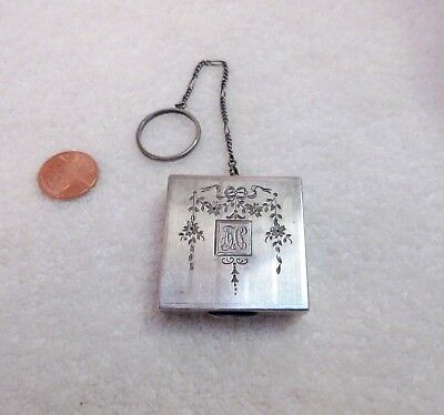 Antique Sterling Silver Compact Case Pill Box Finger Ring Floral Vanity Superb!