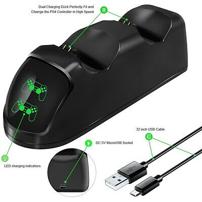 Dual USB Port Gamepad Chargeur Stand Dock Station Câble Pour Manette PS4