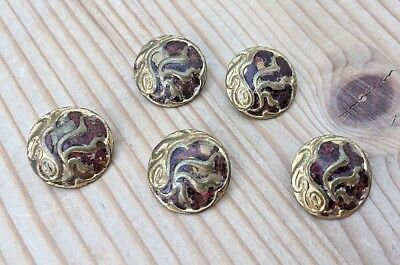 5 Vintage Enamel Champleve? Gilt French Buttons - Very Pretty Design Art Deco?