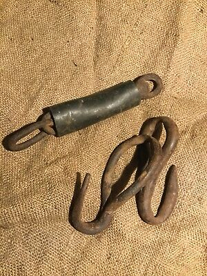 Vintage Antique Metal Hand Forged Iron Hooks Lot Primitive Fireplace Barn Rustic