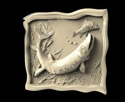 "stl model for CNC Router Machine Artcam Vectric Aspire "" Fishes in Frame """