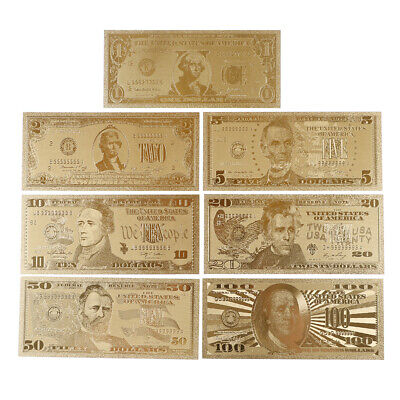 7Pcs gold foil banknote USA 1 dollar bill currency paper money metal plated TC
