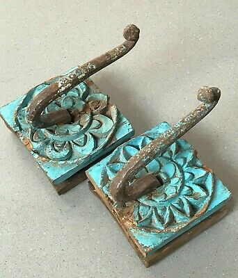 Antique / Vintage Indian Furniture. Large Pair Hand-Carved Coat Hooks. Turquoise