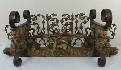 Antique Original Wood & Iron Sicilian Donkey Cart Carved & Painted Axle 1850's