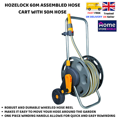 Hozelock 60M Assembled Garden Hose Cart Trolley Reel 50M Pipe Nozzle Connectors