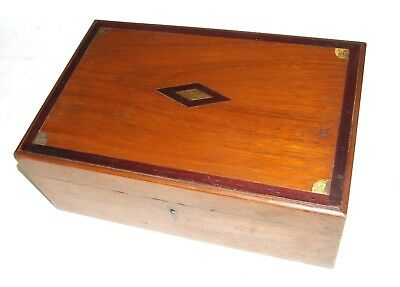 Antique Anglo Indian Teak and Brass Inlaid Vanity Box Chest with Fitted Interior