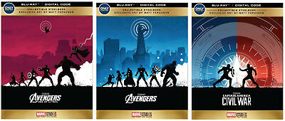 SET 3 Avengers,Age of Ultron,Captain America Civil War Bluray STEELBOOK Best Buy