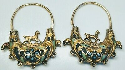 18th/19th Century Antique Georgian Enamel and 14k Gold Hoop Earrings With Horse