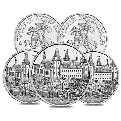 Lot of 5 - 2019 1 oz Austrian Silver Wiener Neustadt Vienna Coin BU - 825th