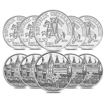 Lot of 10 - 2019 1 oz Austrian Silver Wiener Neustadt Vienna Coin BU - 825th
